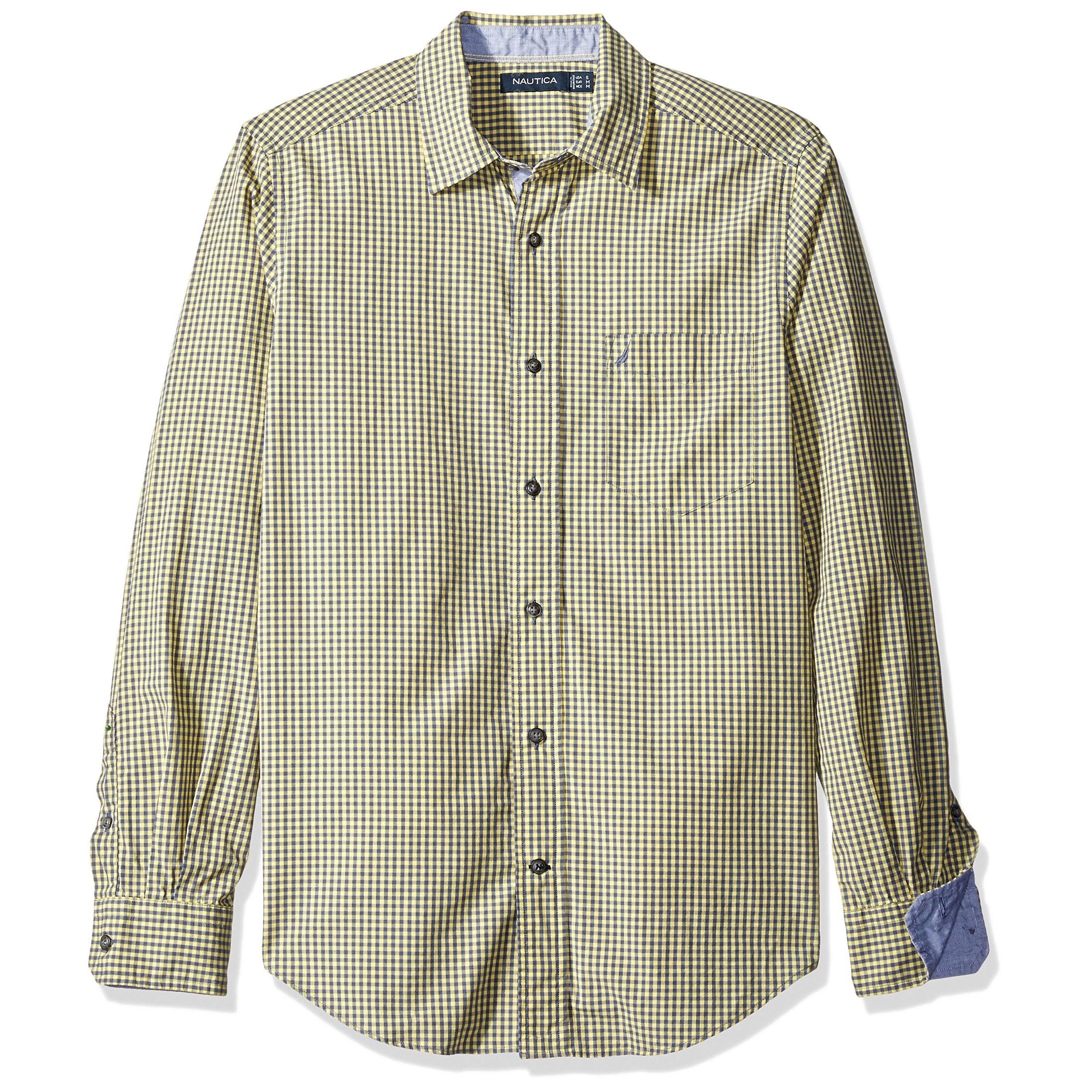 8704079a Nautica NEW Yellow Sunshine Mens Size Medium M Button Down Check Shirt
