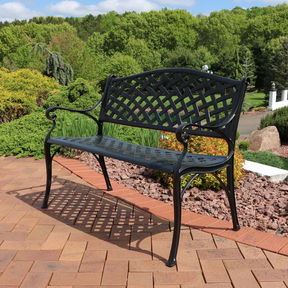 Shop Sunnydaze 2 Person Black Checkered Cast Aluminum Outdoor Patio Garden  Bench   Free Shipping Today   Overstock.com   16636376