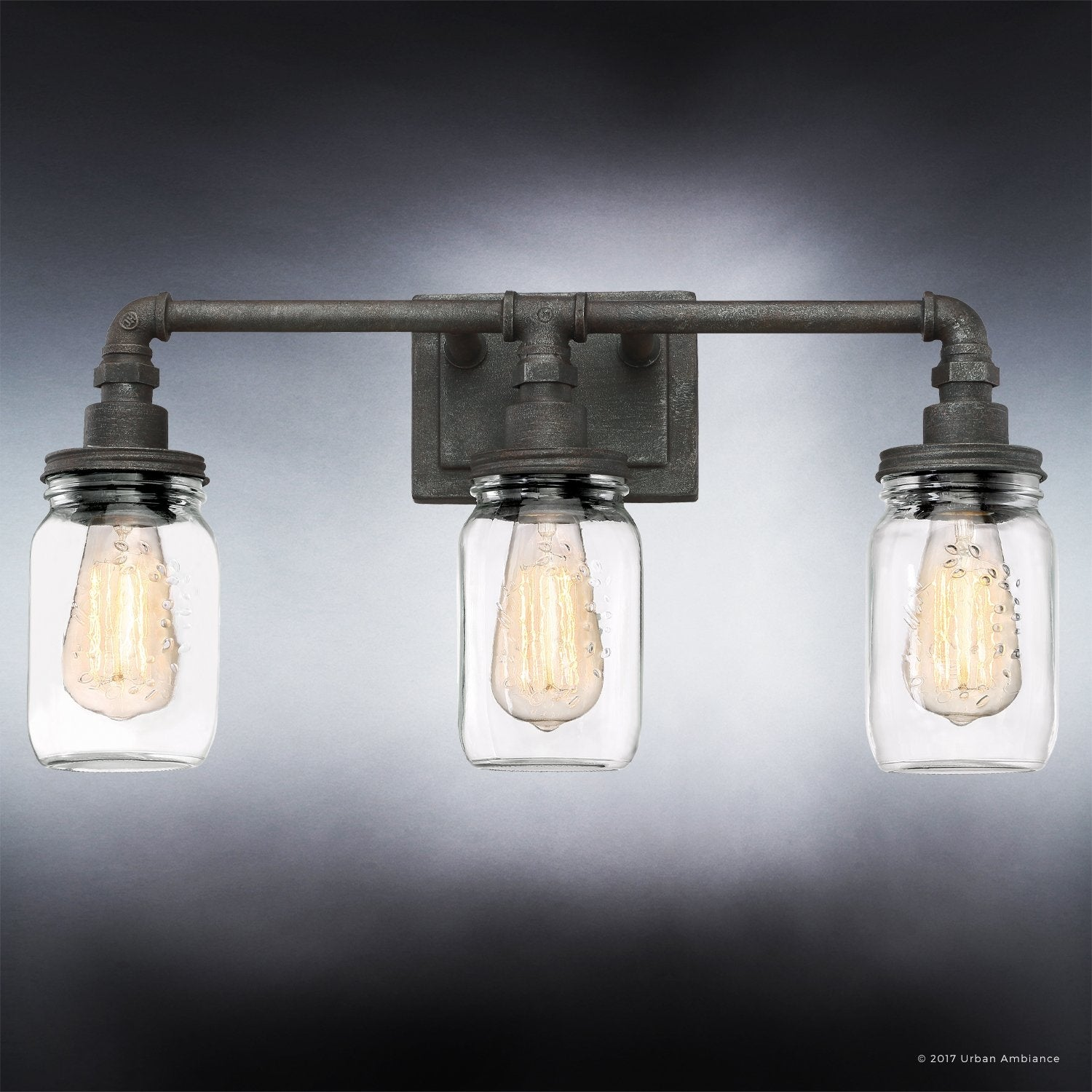 Luxury industrial bathroom light 11h x 215w with shabby chic luxury industrial bathroom light 11h x 215w with shabby chic style aged pipe designantique black finish free shipping today overstock 25476164 mozeypictures Choice Image