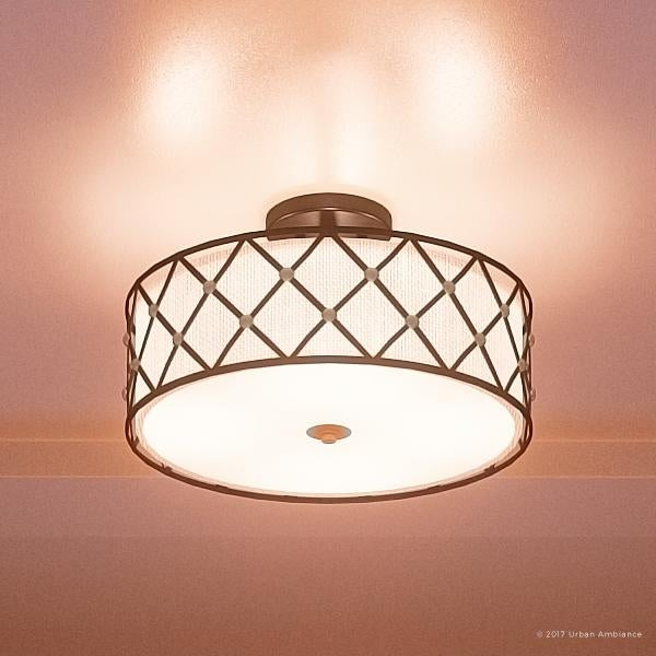 Luxury Art Deco Semi Flush Ceiling Light 11 H X 17 W With Moroccan Style Gold Studded Design Aged Copper Finish