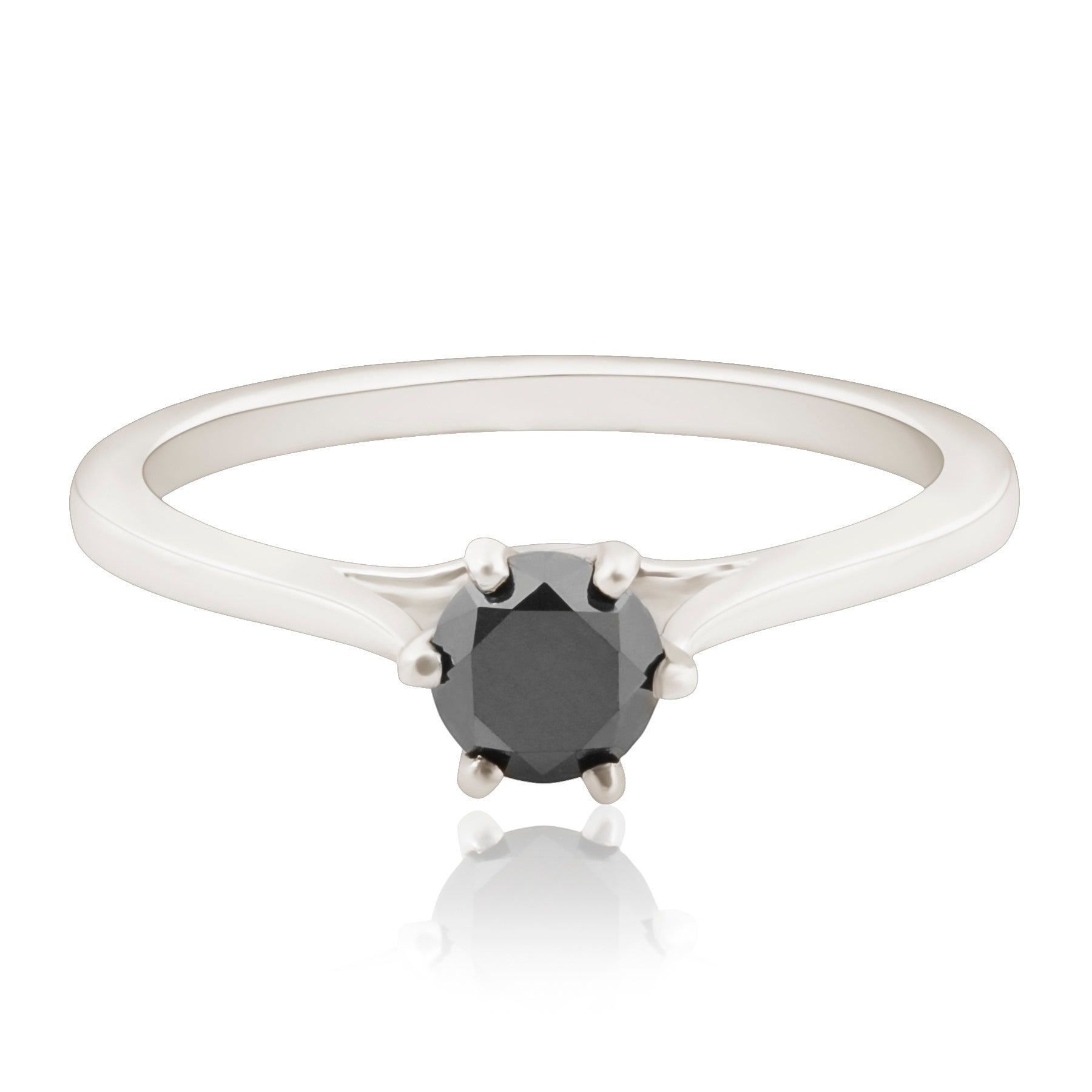 Sixg Set 0 28 Carat Black Diamond Solitaire En Ement Ring
