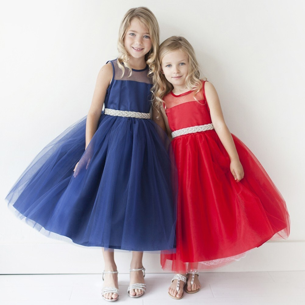 12b958f84 Shop Girls Navy Illusion Neckline Rhinestone Tulle Junior Bridesmaid Dress  - Free Shipping On Orders Over $45 - Overstock - 18175961