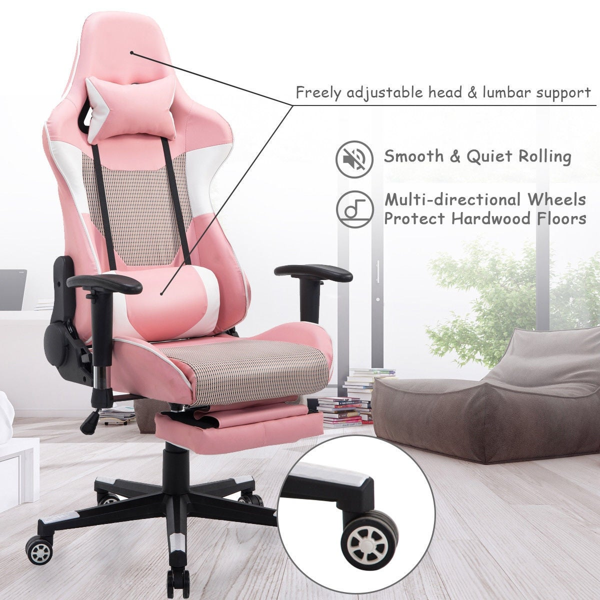 Costway Ergonomic Gaming Chair High Back Racing Office Chair W/Lumbar  Support U0026 Footrest   Free Shipping Today   Overstock   24805984