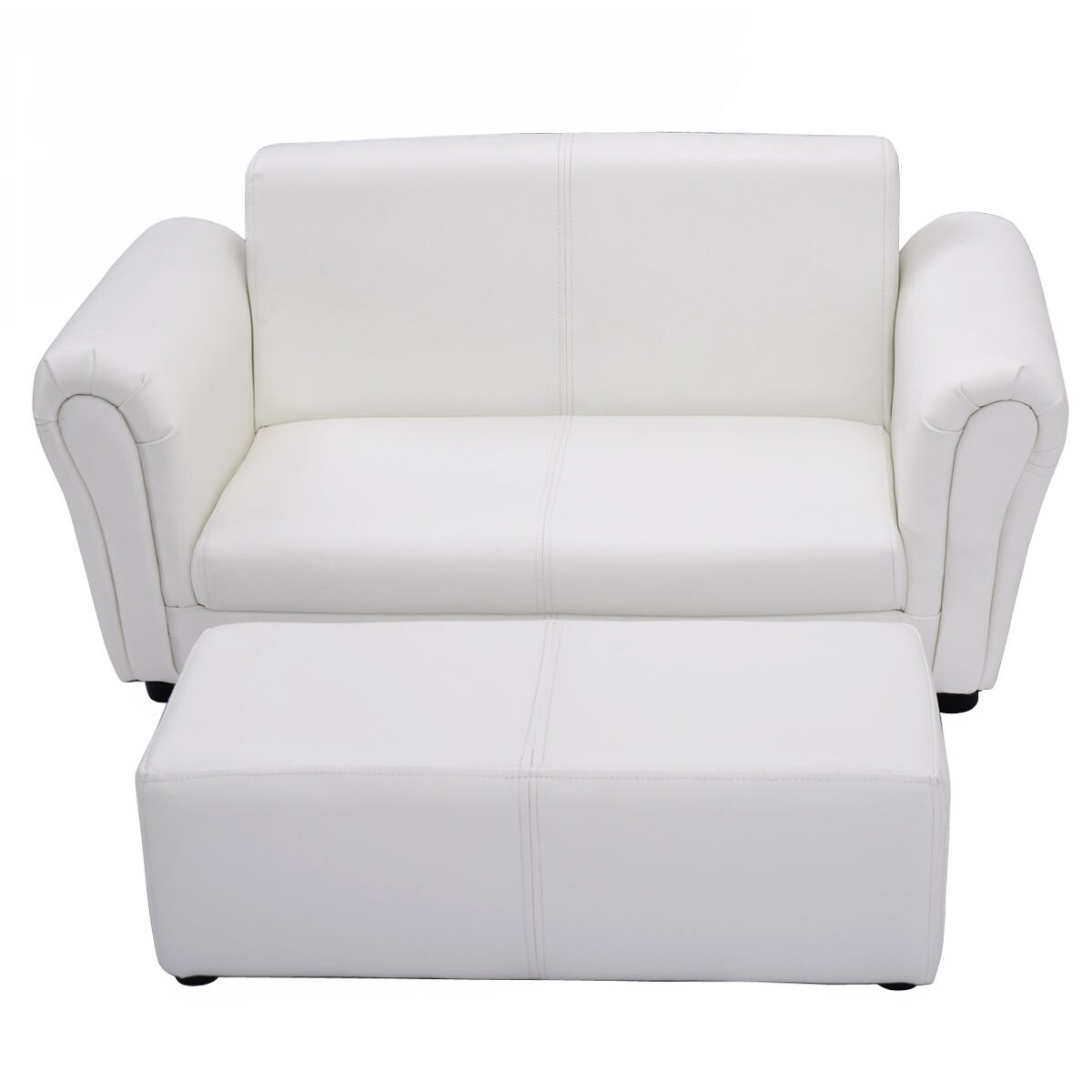 Costway White Kids Sofa Armrest Chair Couch Lounge Children Birthday Gift  W/ Ottoman   Free Shipping Today   Overstock   22217266