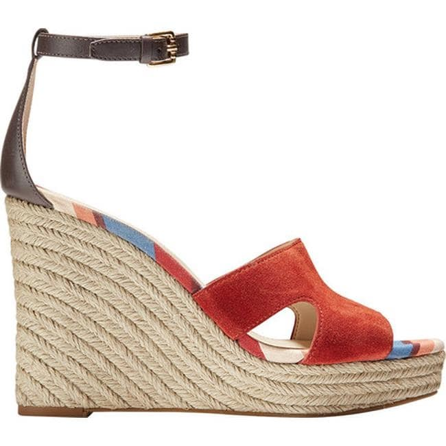 ccc9239ea9f Cole Haan Women's Giselle High Espadrille Wedge II Sandal Cinnabar  Suede/Java Leather
