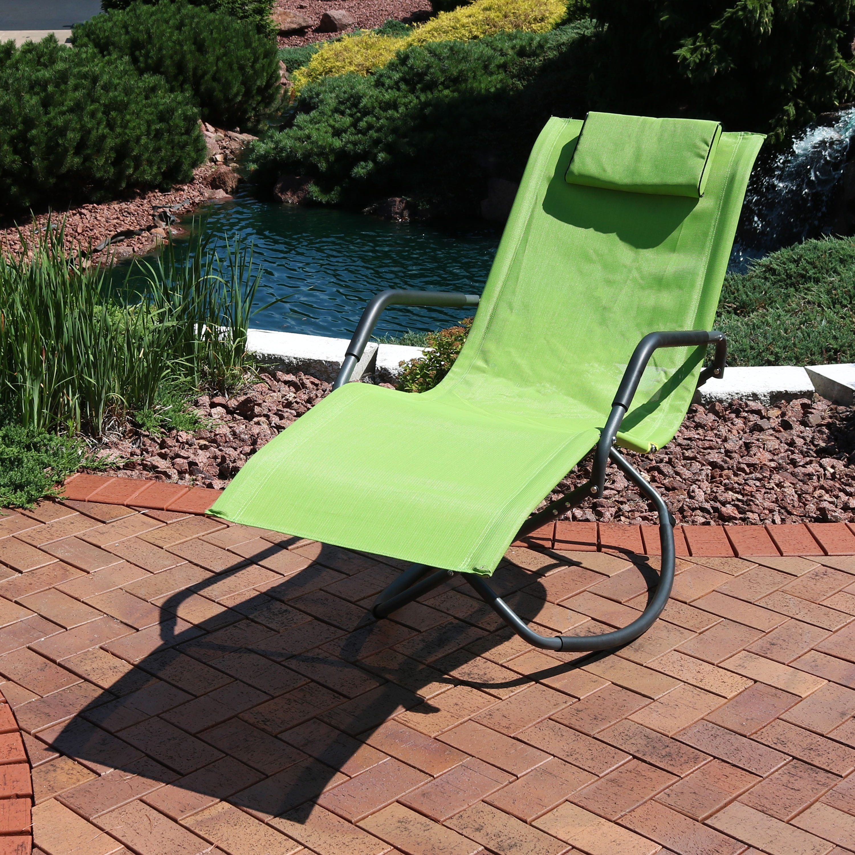 Shop sunnydaze outdoor folding rocking chaise lounger with headrest pillow green free shipping today 22890412