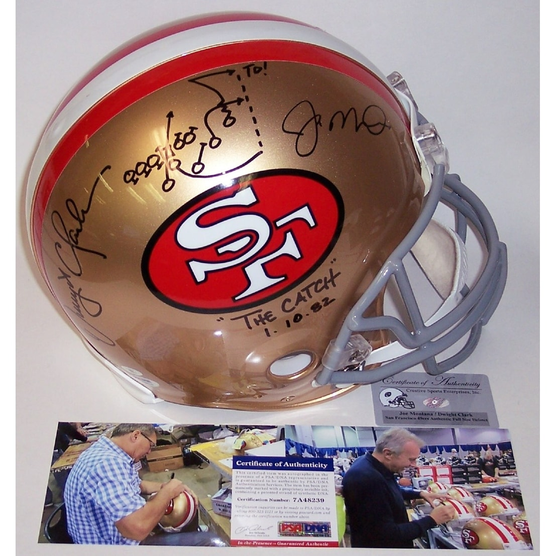 3592b4ff9ca Shop Dwight Clark   Joe Montana Autographed Hand Signed San Francisco 49ers  Throwback Full Size Authentic Helmet - PSA DNA - Free Shipping Today -  Overstock ...