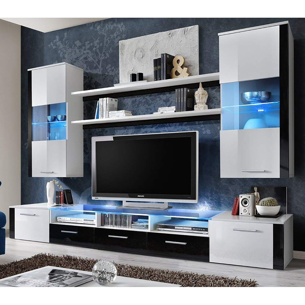Fresh Wall Unit Modern Entertainment Center With Led Lights On Sale Overstock 25686429
