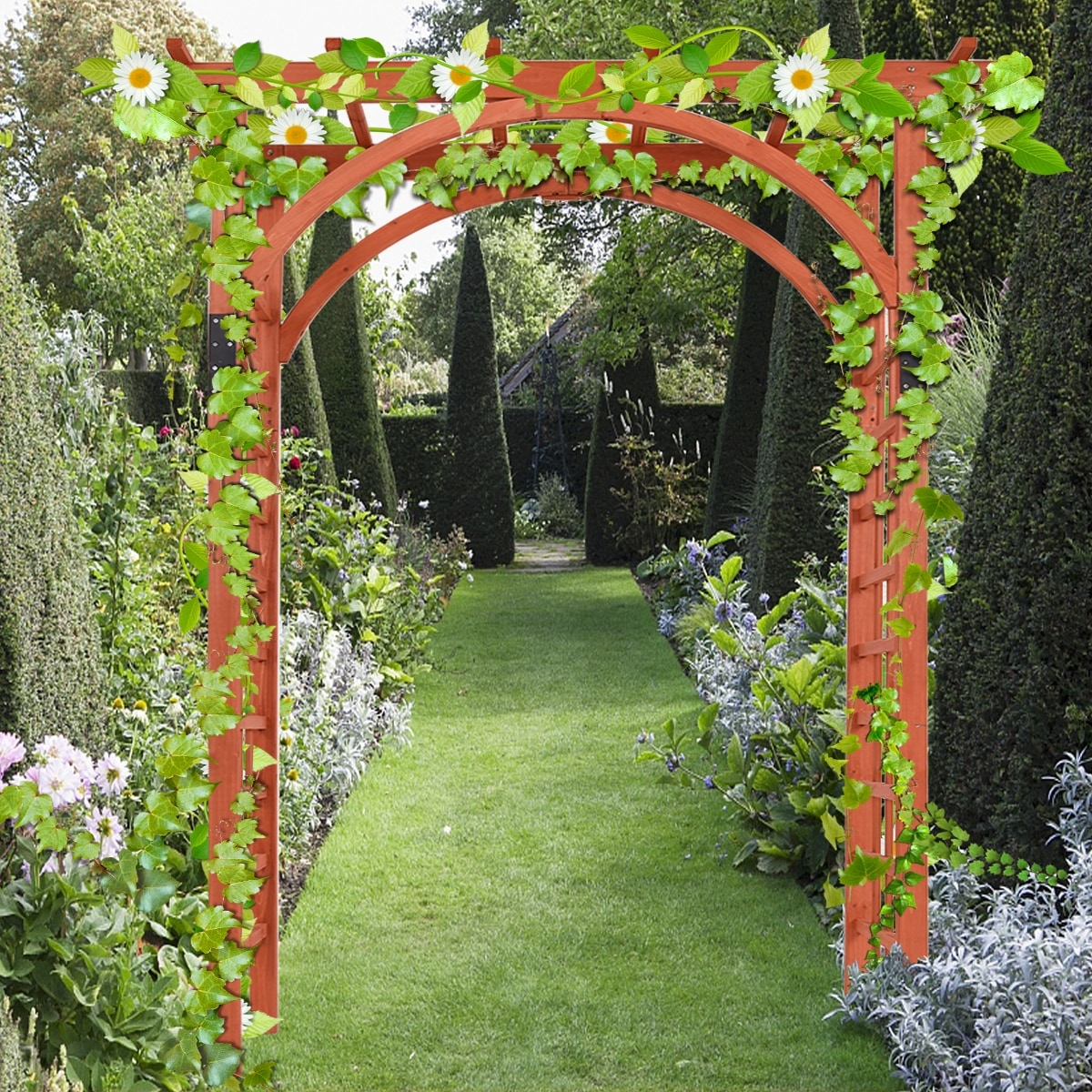 Costway Premium Outdoor Wooden Cedar Arbor Arch Pergola Trellis Wood Garden Yard Lattice Free Shipping Today 16738380