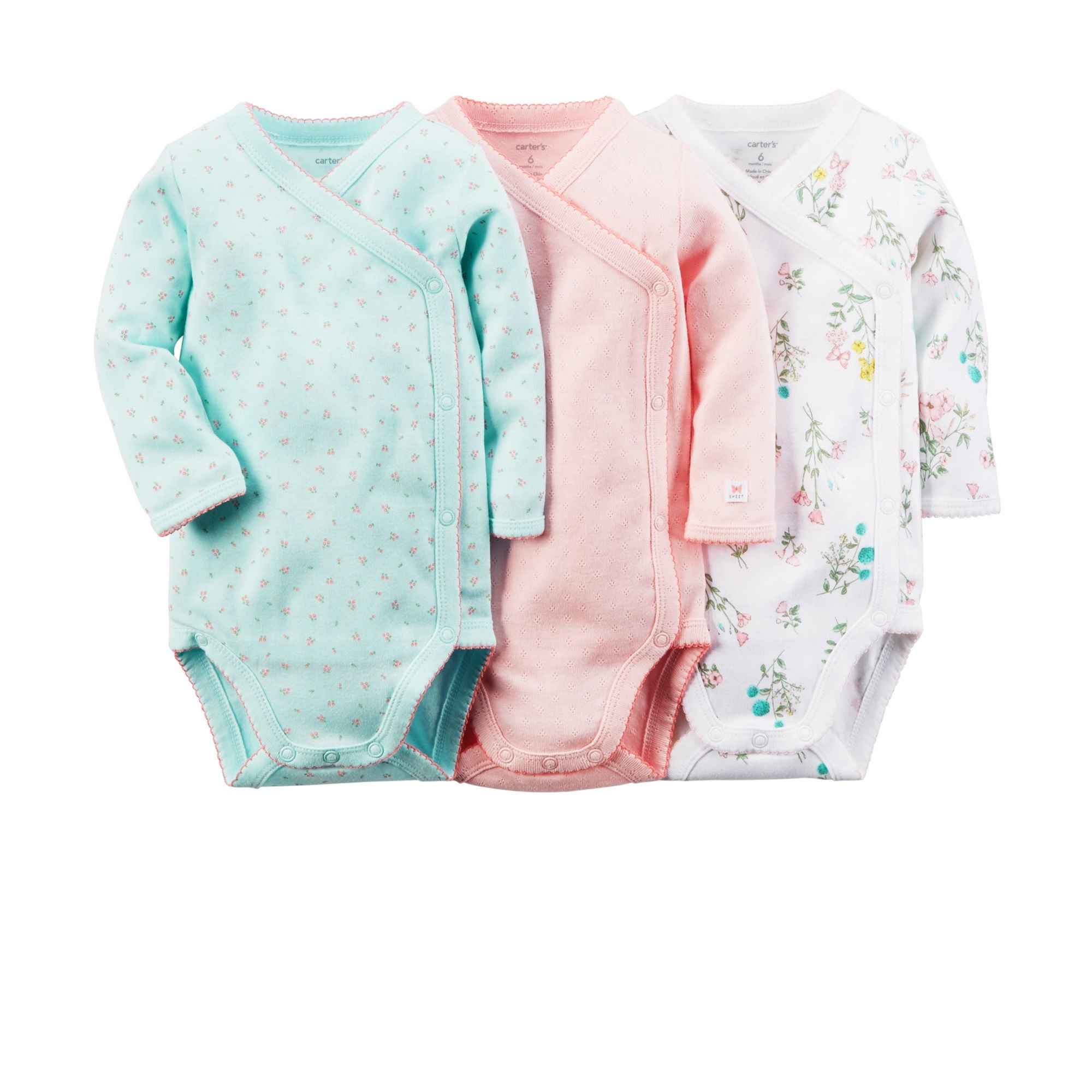 5137e9142 Shop Carter's Baby Girls' 3 Pack Side Snap Bodysuits (Baby) - Floral - 9  Months - Free Shipping On Orders Over $45 - Overstock - 17633423