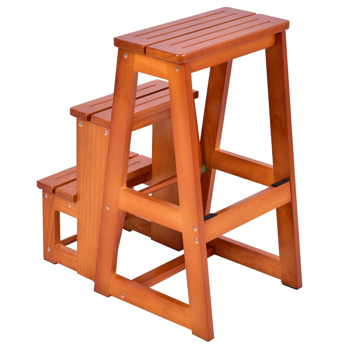 Costway Wood Step Stool Folding 3 Tier Ladder Chair Bench Seat ...