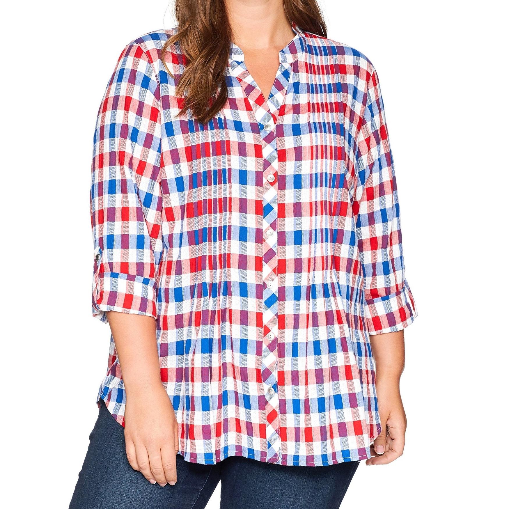 9640e3e483d Red Plaid Button Down Shirt Womens - DREAMWORKS
