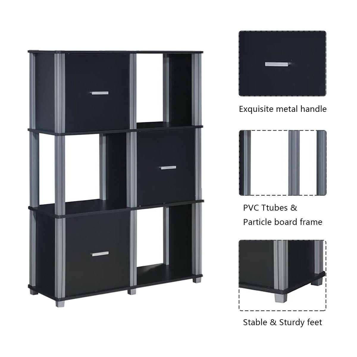 346e3935bab9 Costway 3 Tier Bookcase 6 Cubes Storage Cabinet Shelf Organizer Unit  Display Black