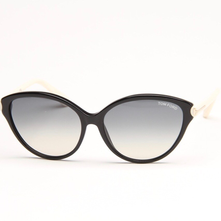 63a702f73c103 Shop Priscilla Black And Cream Sunglasses With Grey Gradient Lens - black  and cream - Free Shipping Today - Overstock.com - 12556030