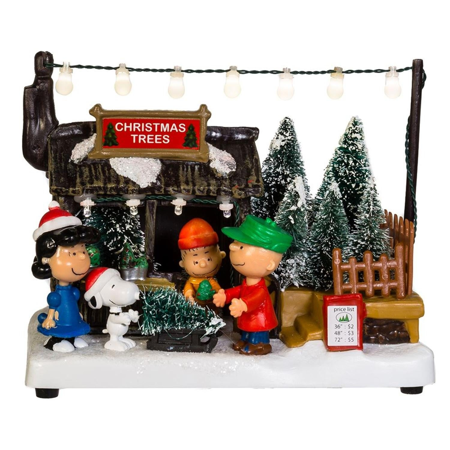 """Shop 7"""" Vibrantly Colored Peanuts Musical Animated Christmas Trees Themed Table Piece - Black - Free Shipping Today - Overstock - 22113712"""