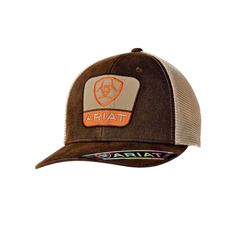 e3df90ac0e1b1 Ariat Western Hat Mens Snap Logo Mesh Baseball One Size Brown - Free  Shipping On Orders Over  45 - Overstock.com - 25626222