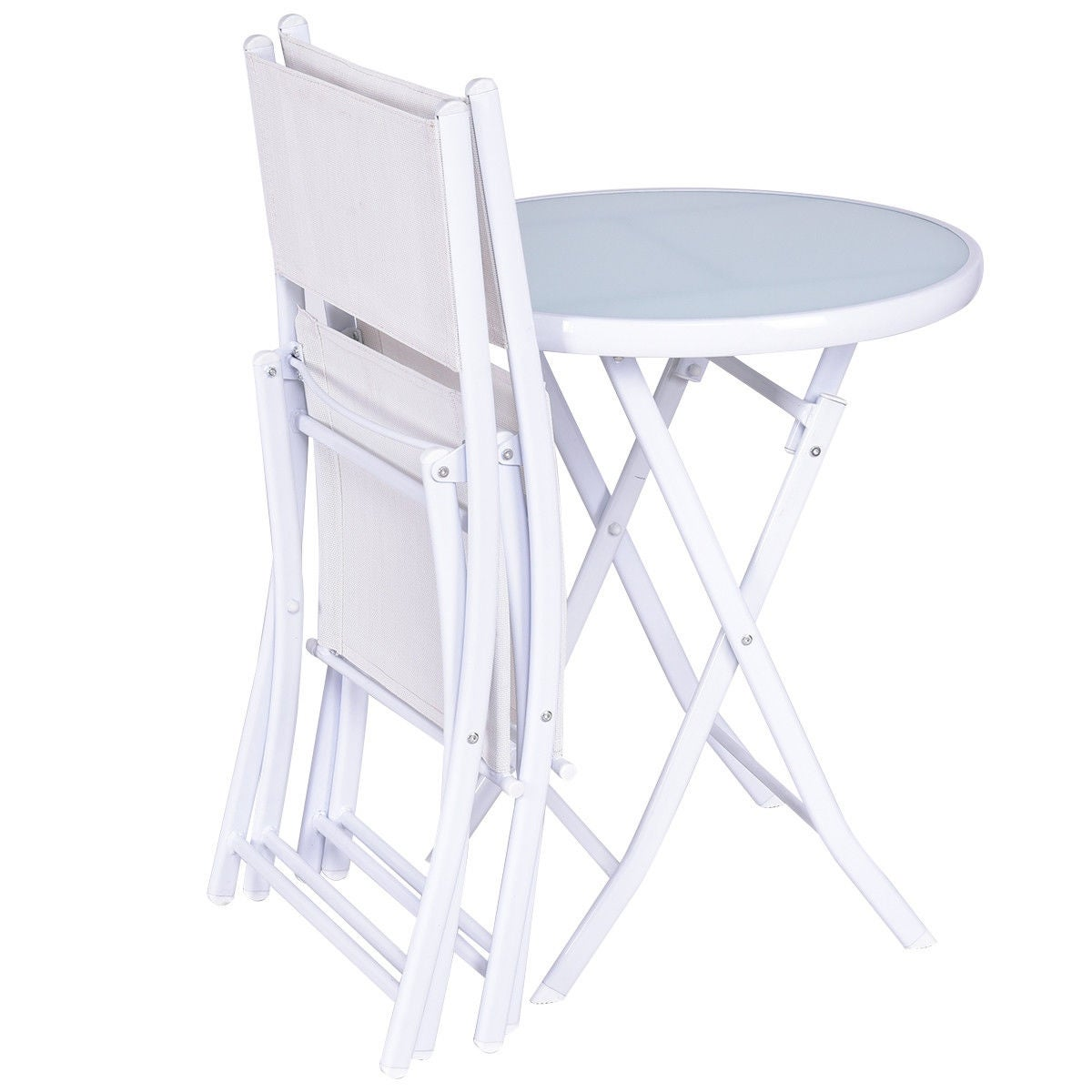 Costway 3 PCS Folding Bistro Table Chairs Set Garden Backyard Patio Furniture White - Free Shipping Today - Overstock - 24430089  sc 1 st  Overstock.com & Costway 3 PCS Folding Bistro Table Chairs Set Garden Backyard Patio ...