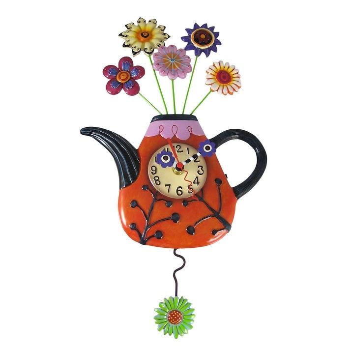 Shop Allen Designs Flower Tea Ful Teapot Pendulum Wall Clock On