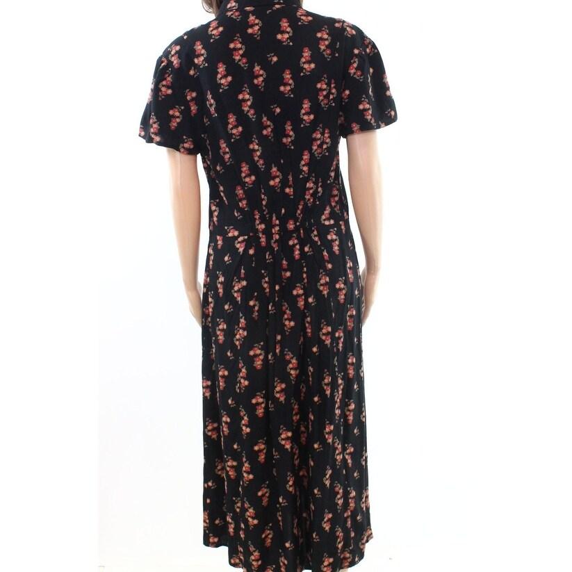 Shop Abound Black Womens Size Medium M Floral-Print Tie-Neck Shirt ... a1af01f6f1c