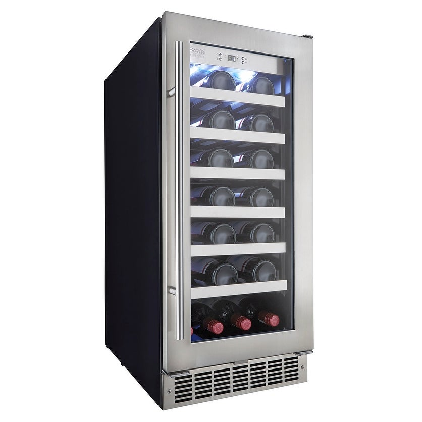 Danby Dwc031d1 15 Wide 28 Bottle Capacity Built In Wine Cooler With Led Showcase Lighting And Wave Storage