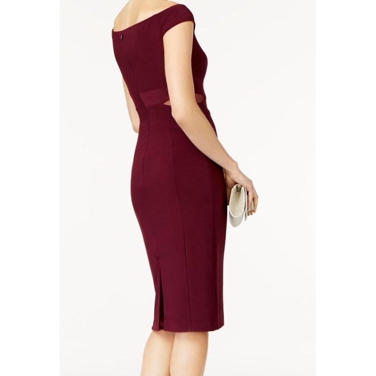 2a24f1f5 Shop Xscape Wine Purple Women's 14 Off Shoulder Mesh Sheath Dress - On Sale  - Free Shipping Today - Overstock - 27195087