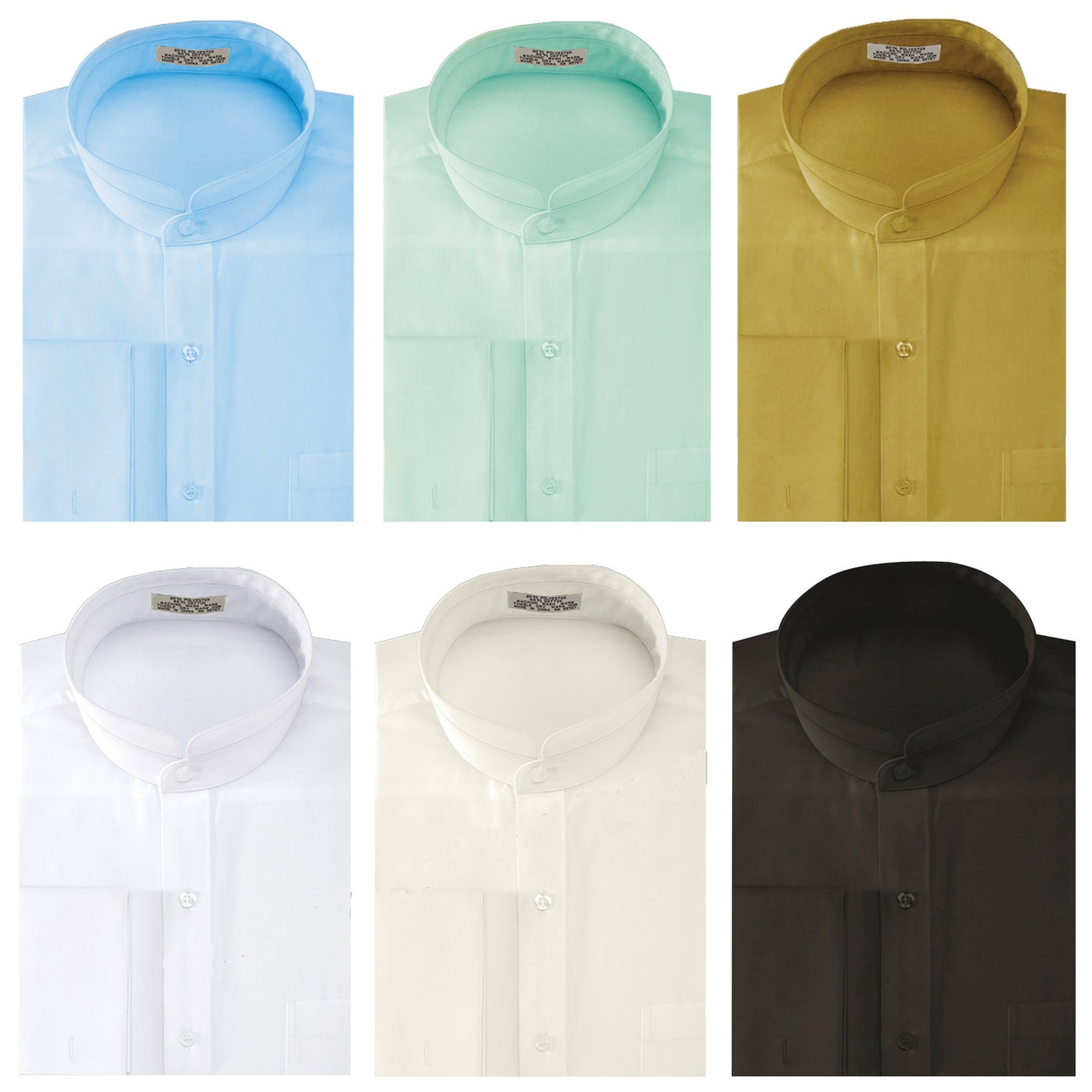 Shop Mens Solid Banded Collar French Cuff Dress Shirt Solid Color