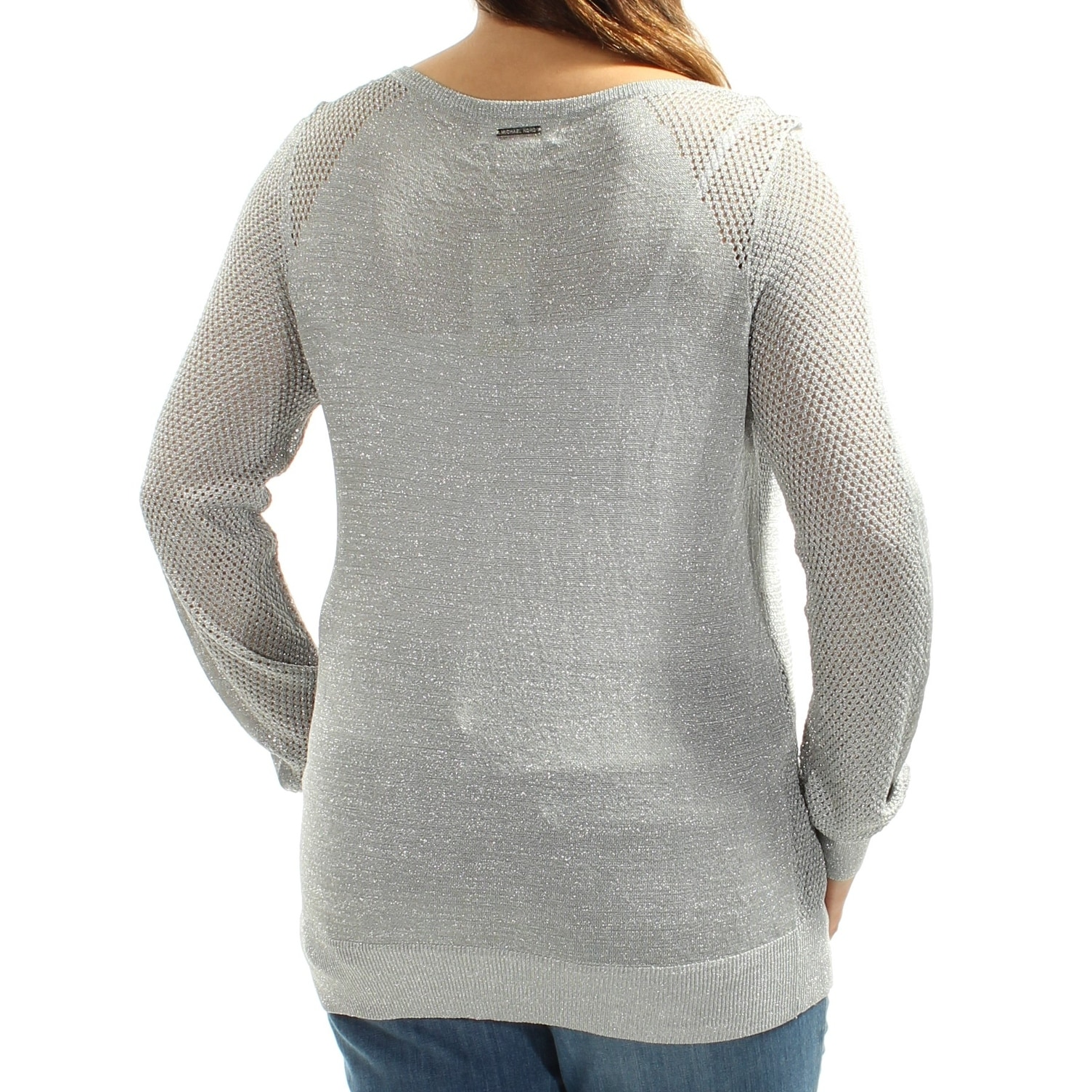 54e31433b6 Shop MICHAEL KORS Womens Silver Eyelet Long Sleeve Jewel Neck Sweater Size   XL - On Sale - Free Shipping On Orders Over  45 - Overstock - 21512086