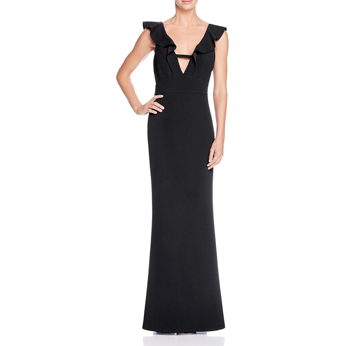 Shop ABS Collection Womens Formal Dress Ruffled Deep V Neck - Free ...