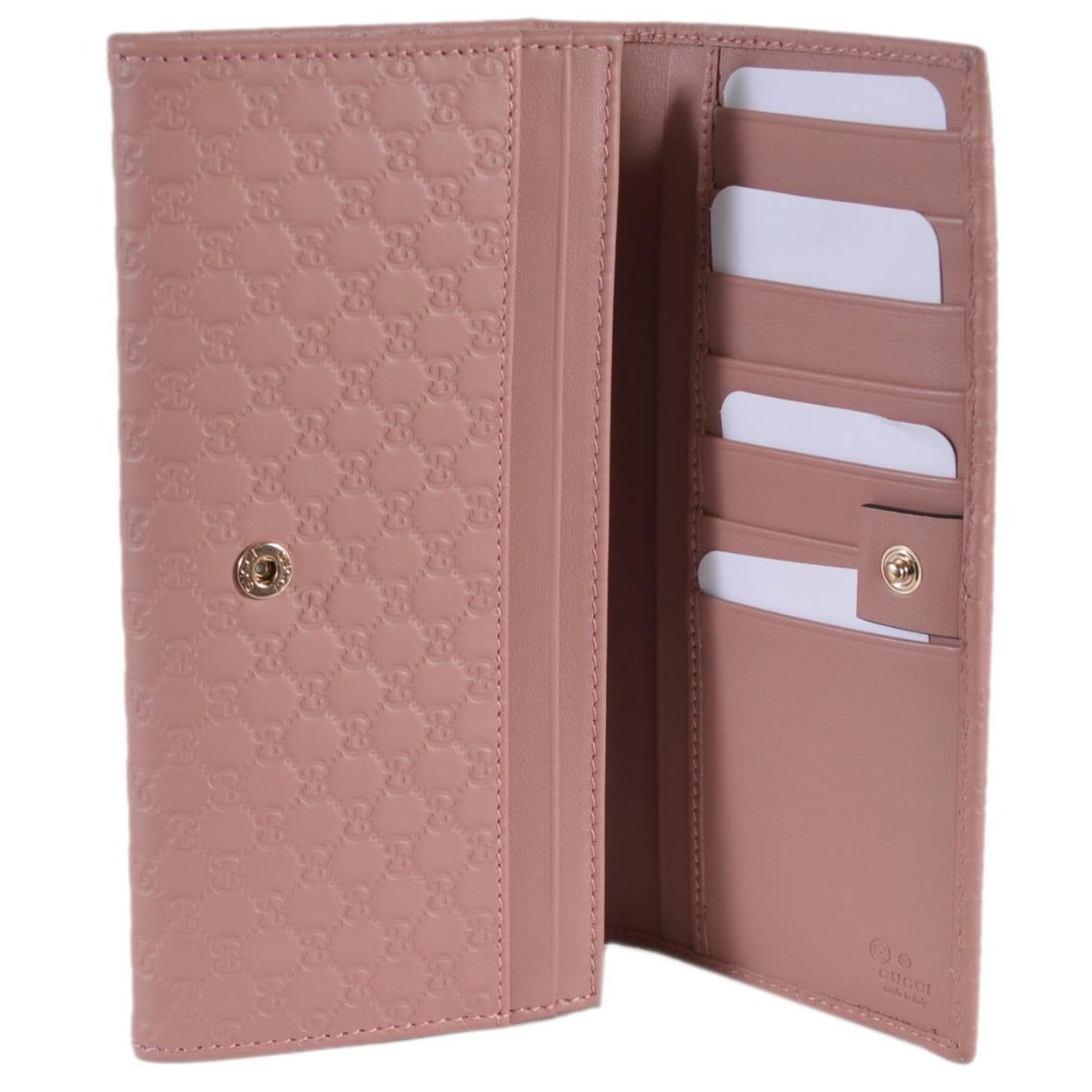 ebcdce083331 Shop Gucci Women's 449396 Soft Pink Leather Micro GG Continental Bifold  Wallet - 7.5