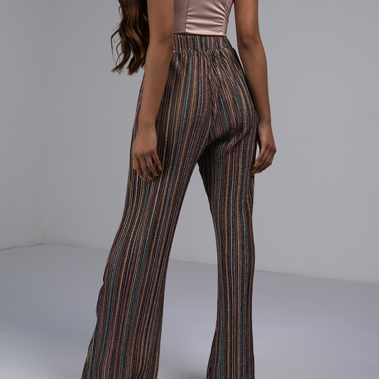 640b3934 Shop Akira Women'S Rainbow Glitter Sheer Stripe Wide Leg Flare High Waist  Stretch Trouser Pant - Free Shipping Today - Overstock - 26968508