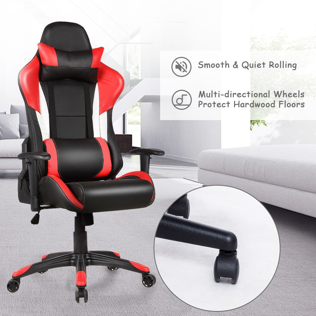 shop costway ergonomic high back racing style gaming chair recliner