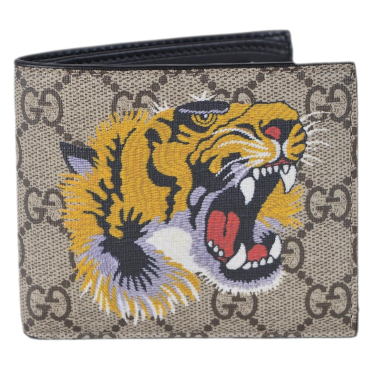 26a63fef3c03 Shop Gucci Men's Beige GG Supreme Canvas Angry Bengal Tiger Bifold Wallet -  measures 4.25 x 3.5 inches - Free Shipping Today - Overstock - 25435884