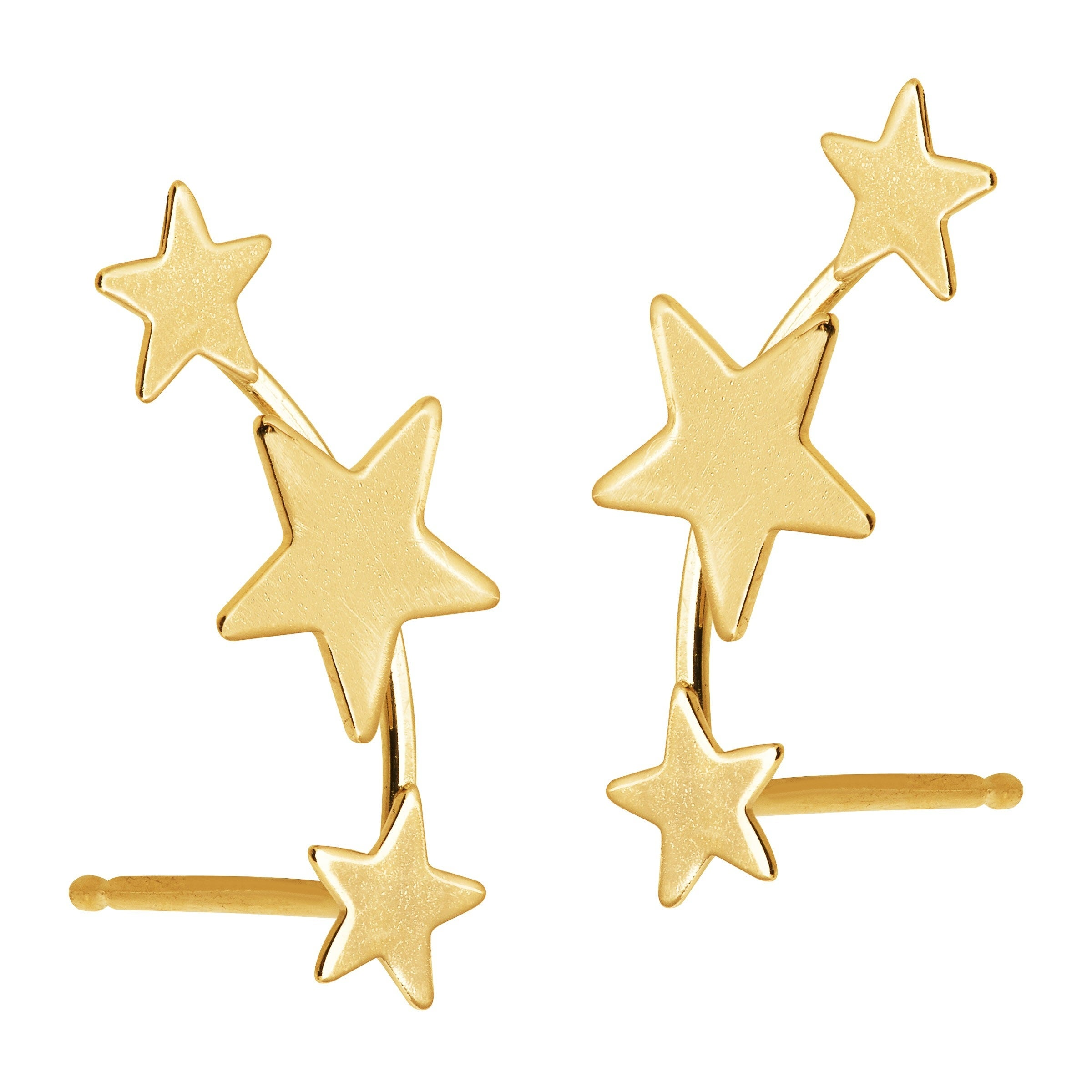 Shop Eternity Gold Three Star Ear Climber Studs In 14k Gold Yellow