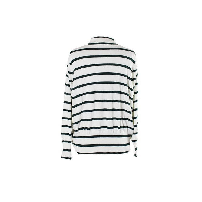 b6d2cd829fd Shop Melissa Mccarthy Seven7 Plus Size Ivory Green Striped Turtleneck  Sweater 0X - Free Shipping On Orders Over  45 - Overstock - 24192153