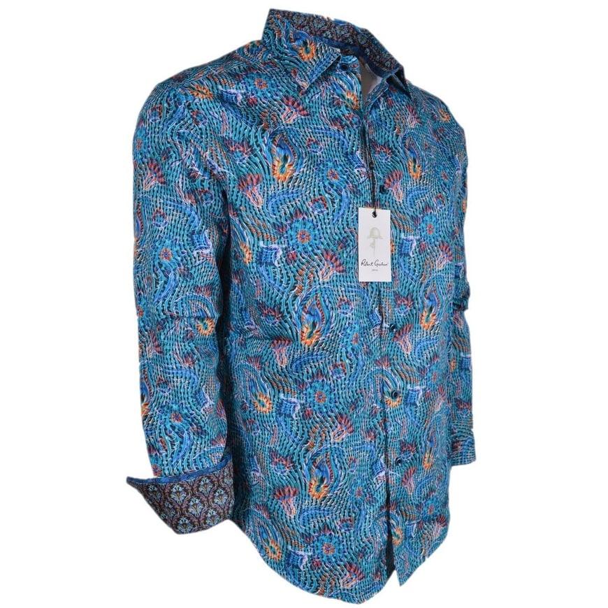 NWT Robert Graham men/'s M,L long sleeve button down shirt floral arts ClassicF