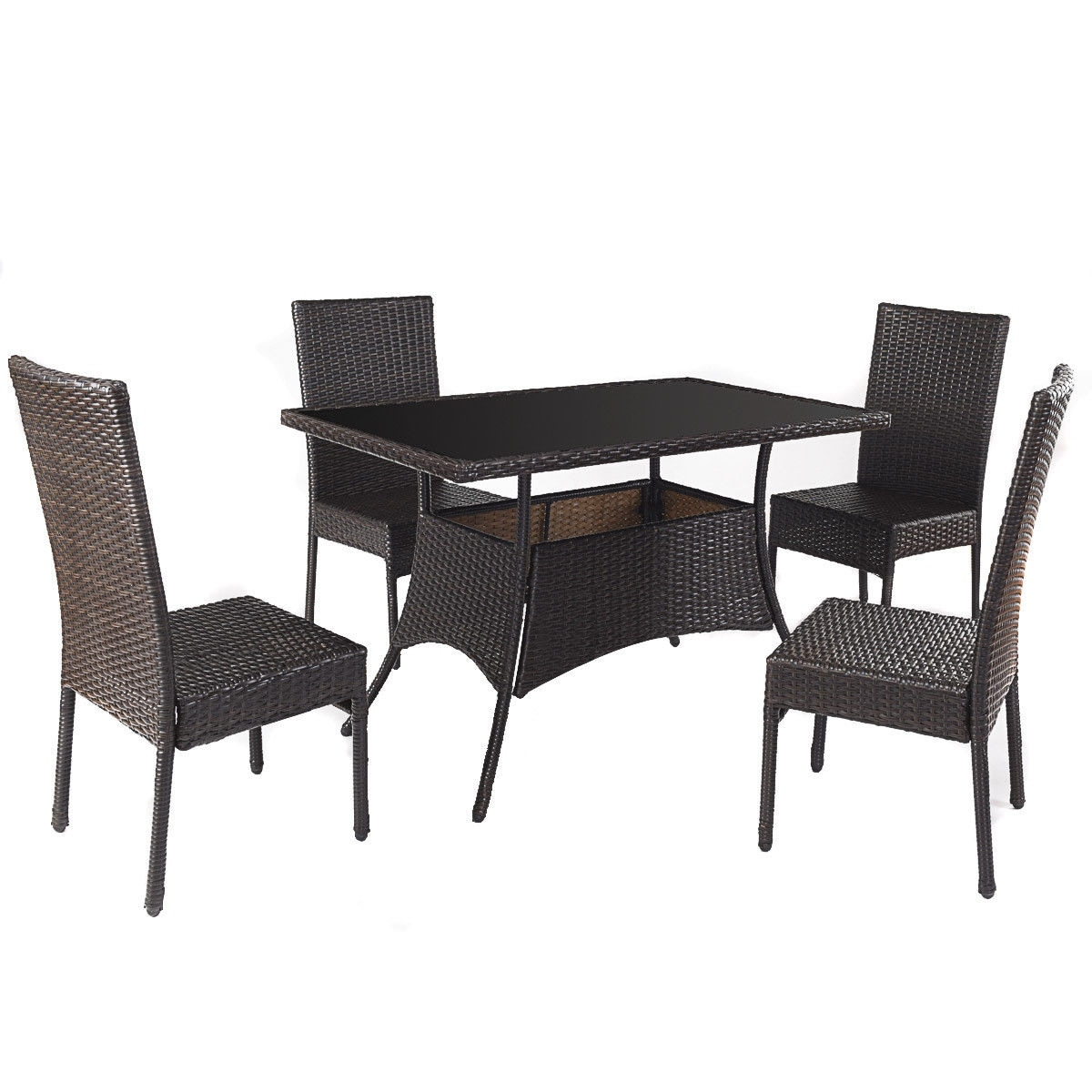 Costway 5 Piece Outdoor Patio Furniture Rattan Dining Table Cushioned Chairs Set Free Shipping Today 20445706