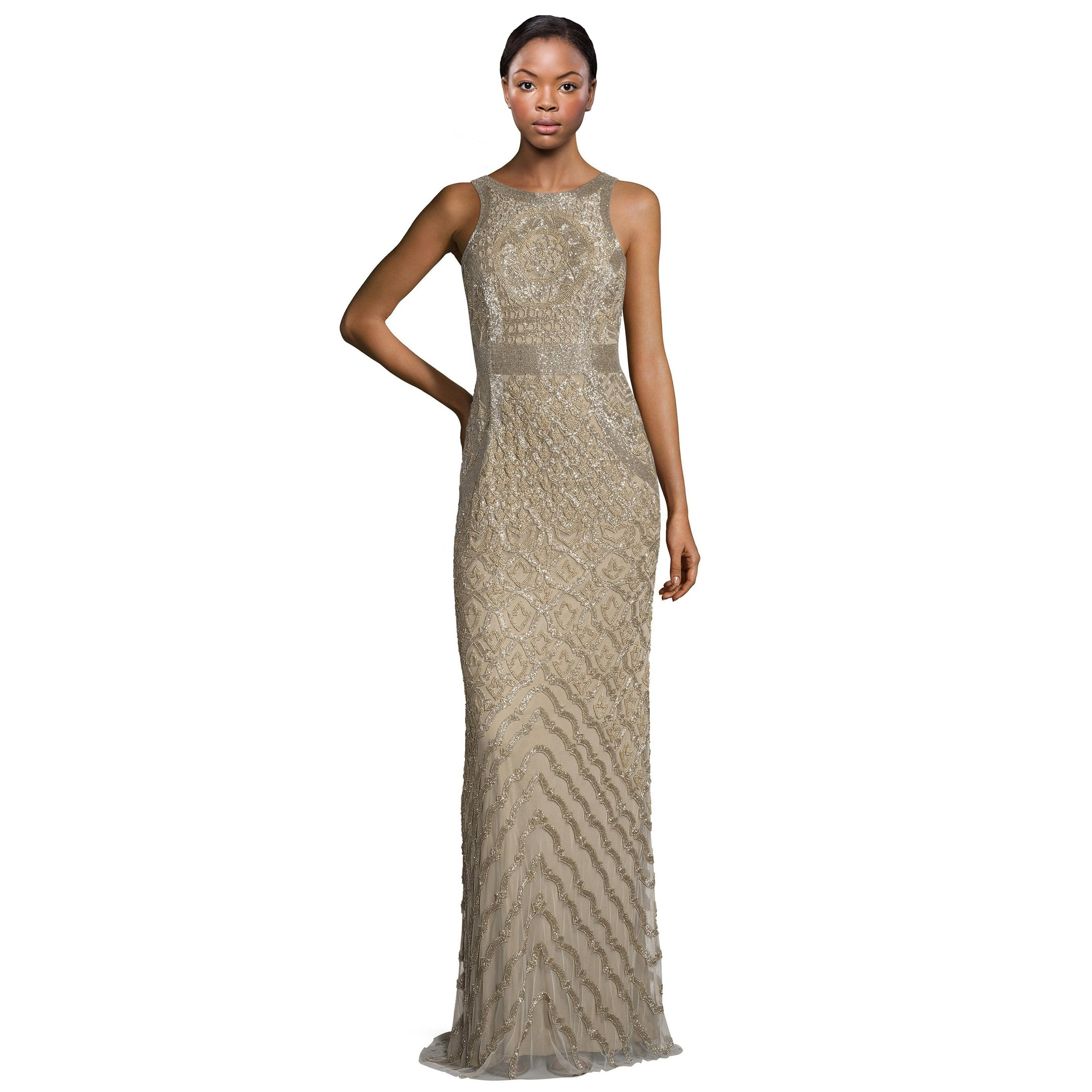 Theia Bead Embellished Sleeveless Column Evening Gown Dress - Free ...