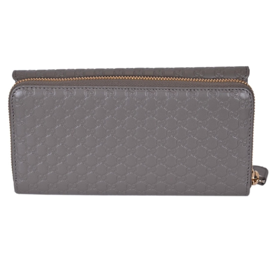 1e8dc0b03aa Shop Gucci Women s 449364 Grey Leather Micro GG Continental Bifold Wallet  W Zip - 8 x 4 inches - Free Shipping Today - Overstock - 20954003