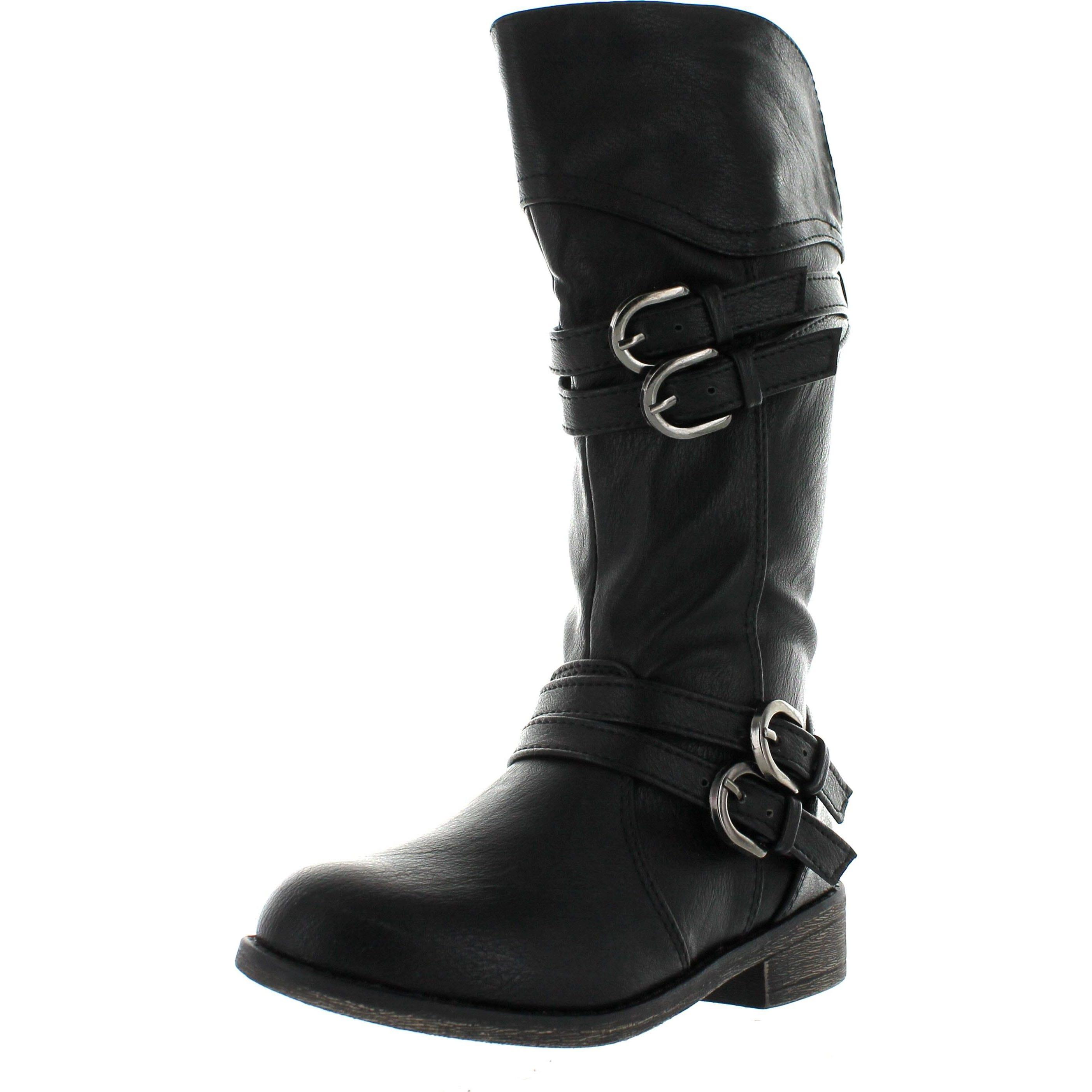d1834b276f8 Lucky Top Fay-42K Children Girl s Classical Block Heel Buckle Knee High  Riding Boots