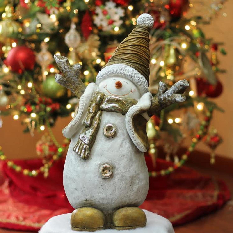 19 5 Whimsical Ceramic Jolly Christmas Snowman Decorative Tabletop Figure