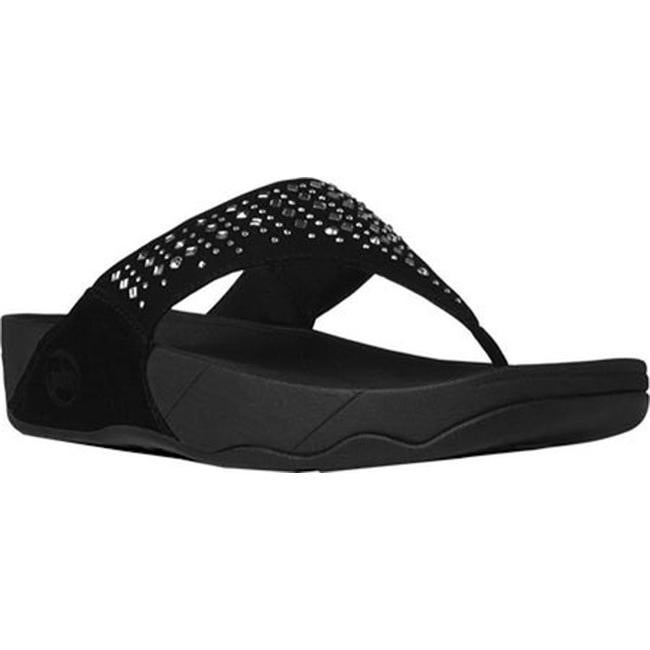2ad1f2355d892 Shop FitFlop Women s Novy Thong Sandal Black Shimmersuede - Free ...