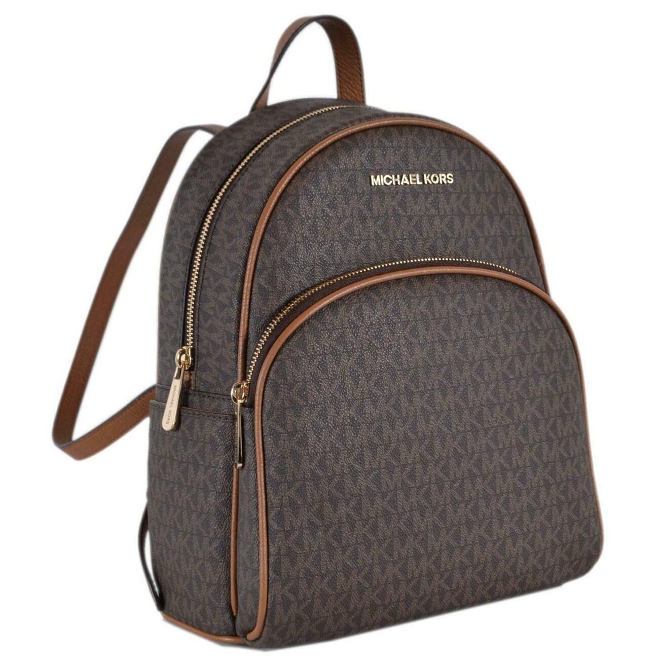 2eaea70decd Michael Kors Brown Acorn Coated Canvas Signature Abbey Backpack Bag - 12