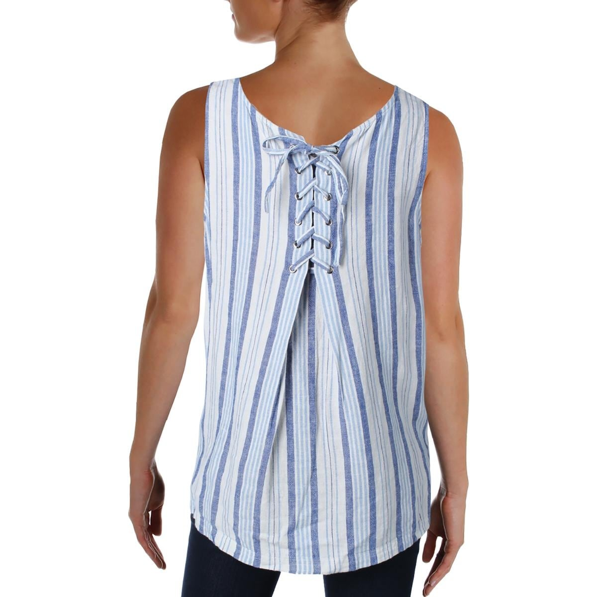 dc413d7c4d Shop Two by Vince Camuto Womens Summer Breeze Tank Top Linen Blend Striped  - On Sale - Free Shipping On Orders Over  45 - Overstock - 20820085