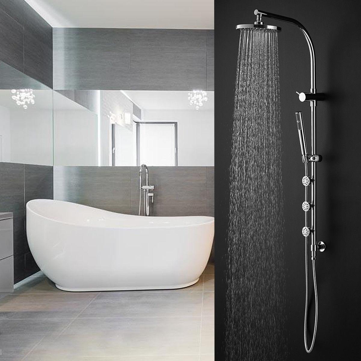 Shop Gymax 44\'\' Chrome Brass Rainfall Shower Panel Wall Mount w/Hand ...