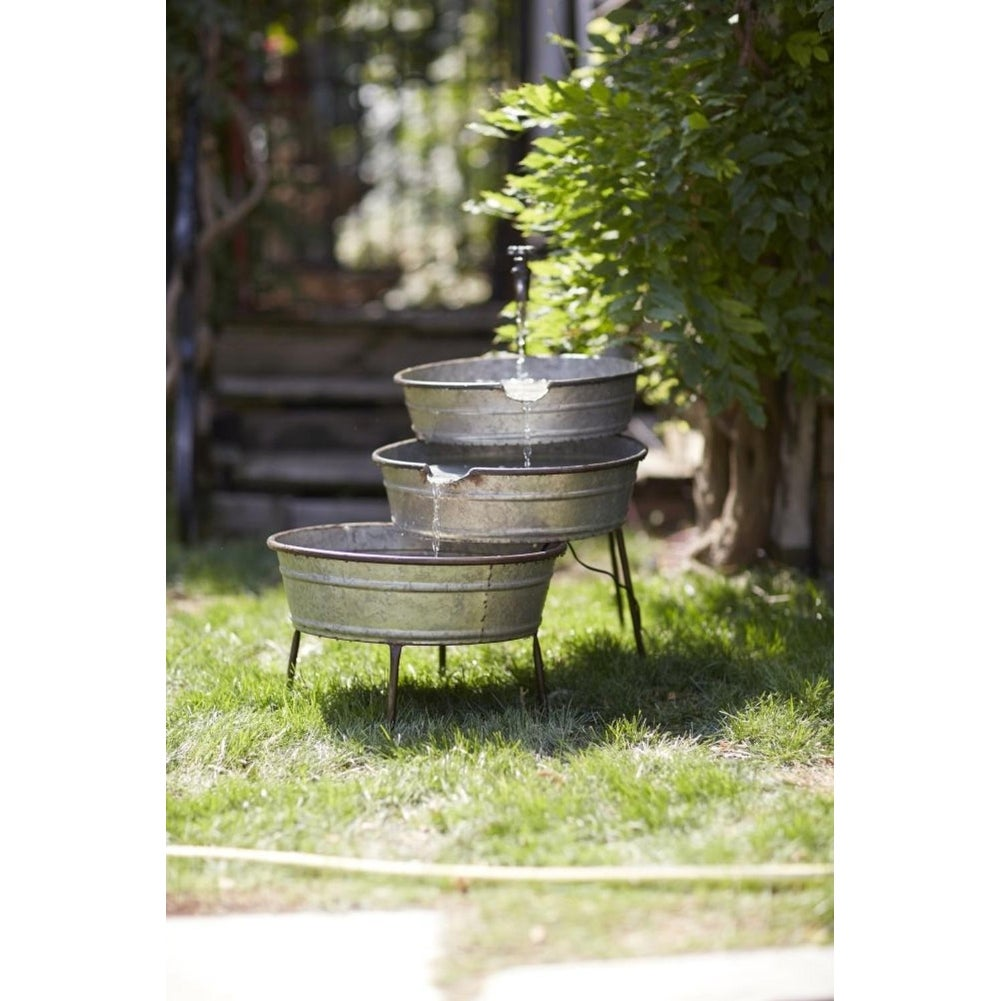 Shop 26u201d Old Fashioned Galvanized Metal Faucet And Tubs Water Fountain    Free Shipping Today   Overstock.com   21518053