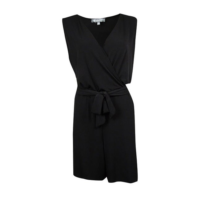 4003ac3cc5ce Shop NY Collection Women s Belted Surplice Jersey Romper - On Sale - Free  Shipping On Orders Over  45 - Overstock - 15019304