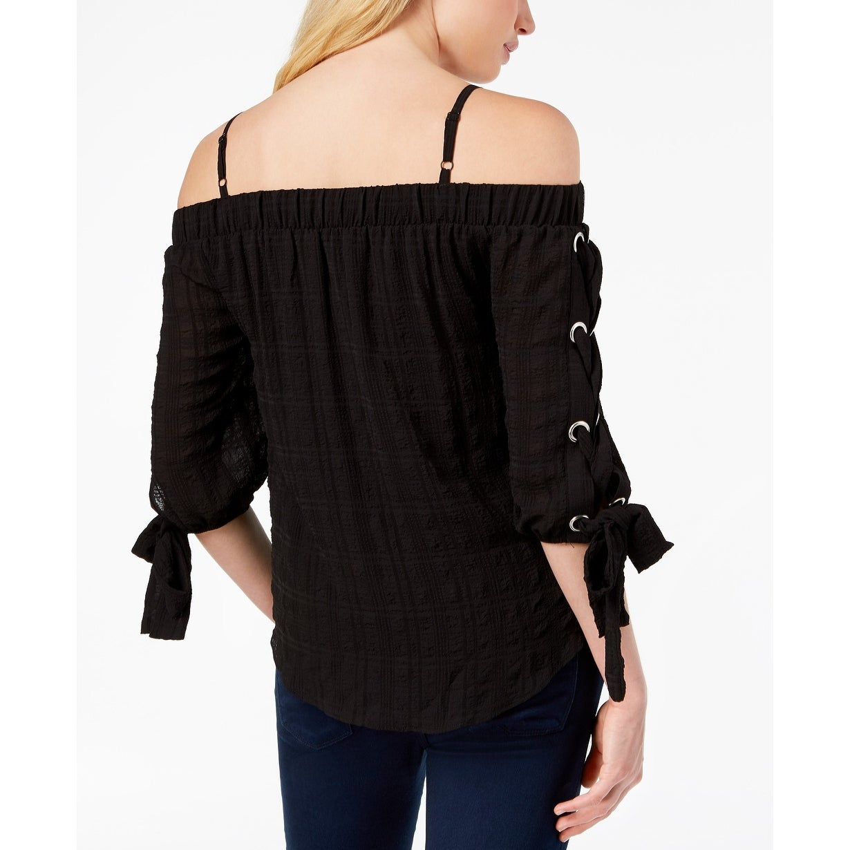 6a4001d74ae Shop XOXO Black Women's Size Medium M Off The Shoulder Tie-Sleeve Blouse -  Free Shipping On Orders Over $45 - Overstock - 28268037
