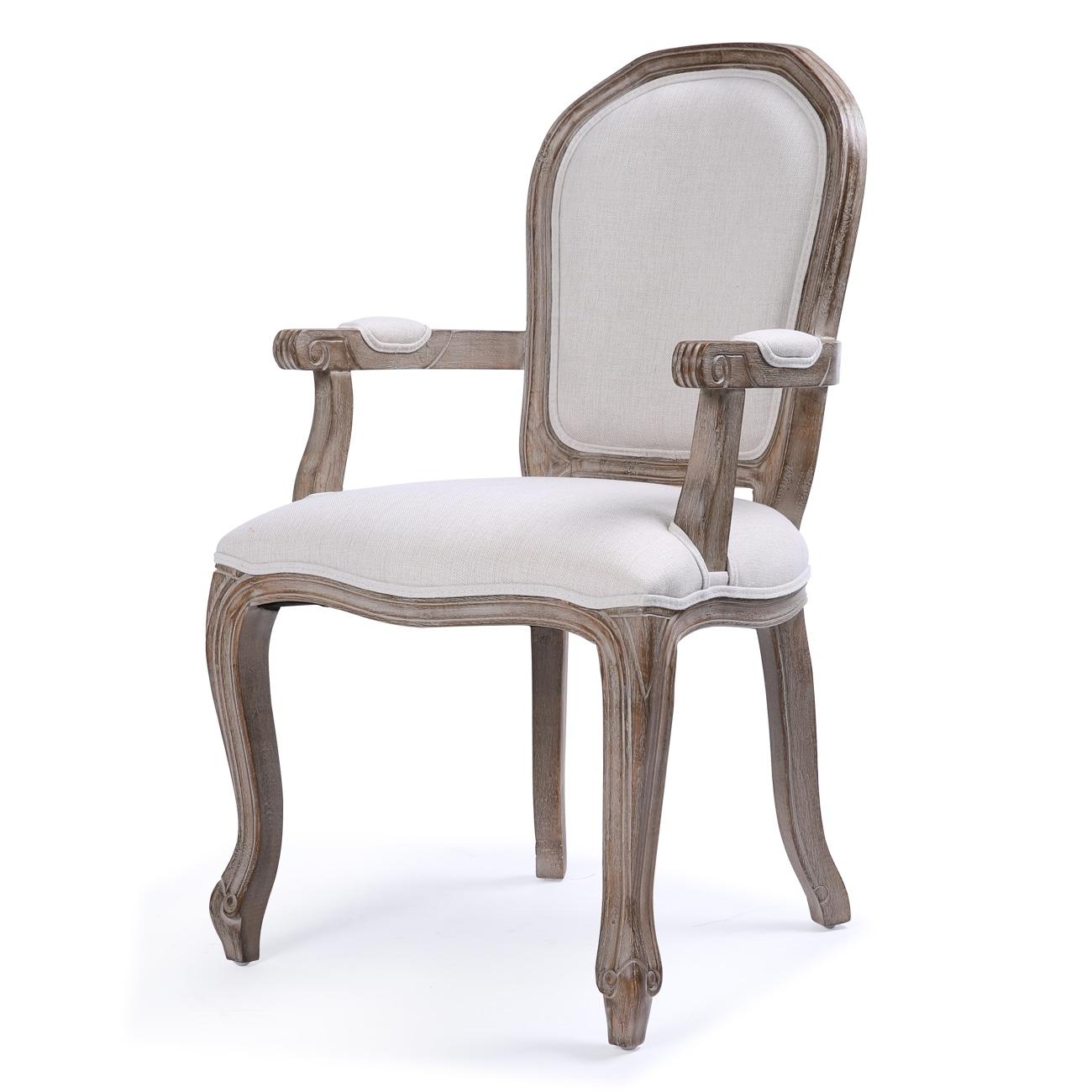 Belleze elegant upholstered modern linen high back formal dining chair w padded arm rest and wood legs beige