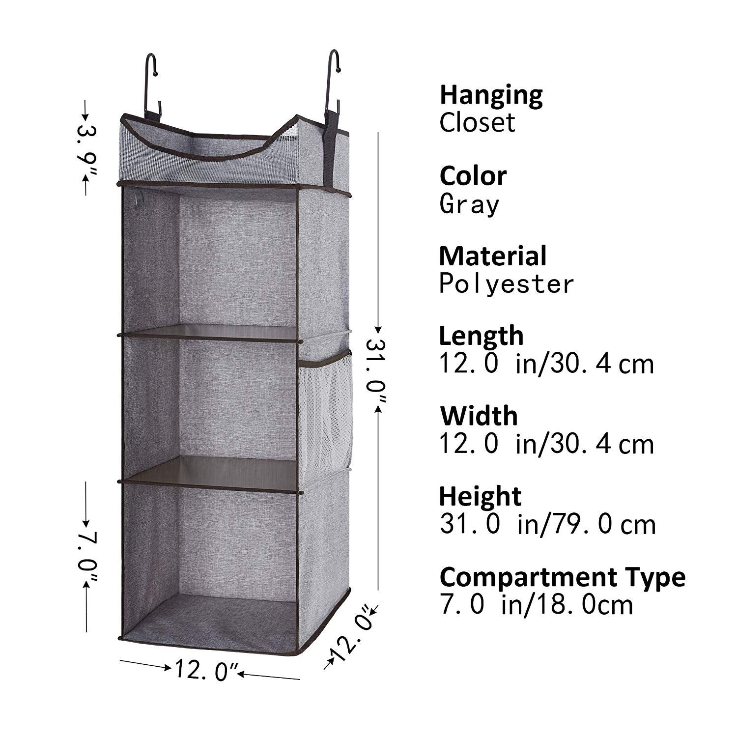 Shop Storageworks 3 Shelves Hanging Closet Organizer Gray 120
