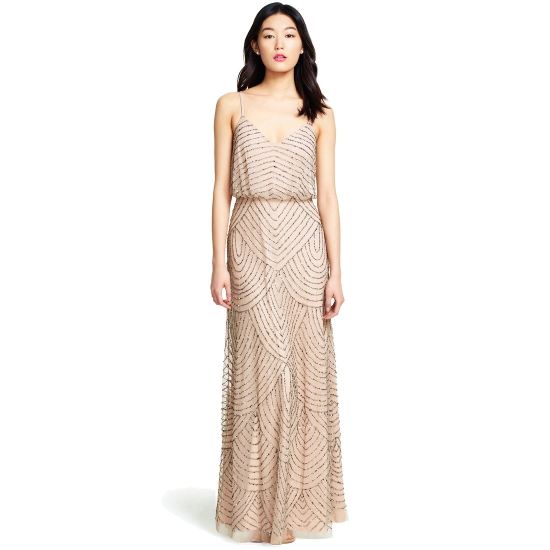 Shop Adrianna Papell Women\'s Long Beaded Blouson Gown - Free ...
